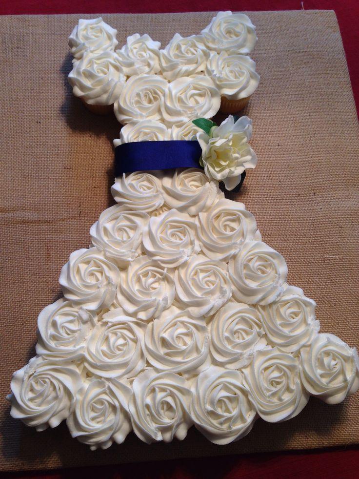 39 best bridal shower images on pinterest wedding dress for Wedding dress cupcake cake