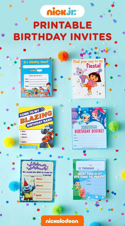 Ni nick jr games and coloring on online - Nick Jr Printable Birthday Party Invitations