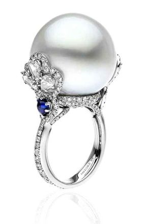 Pearl and diamond ring by Autore.