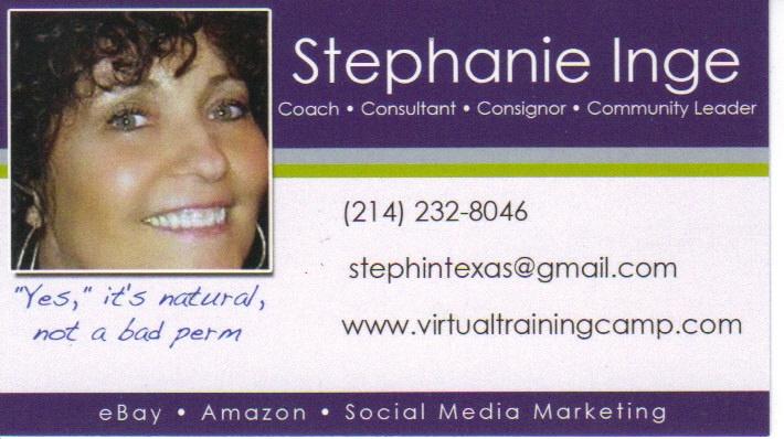 Stephanie Inge, Education Specialist Trained by eBay & Adjunct eBay/Amazon Professor @Collin County Community College, Plano, Texas - http://www.poweru.net/ebay/student/insView.asp?id=96041213