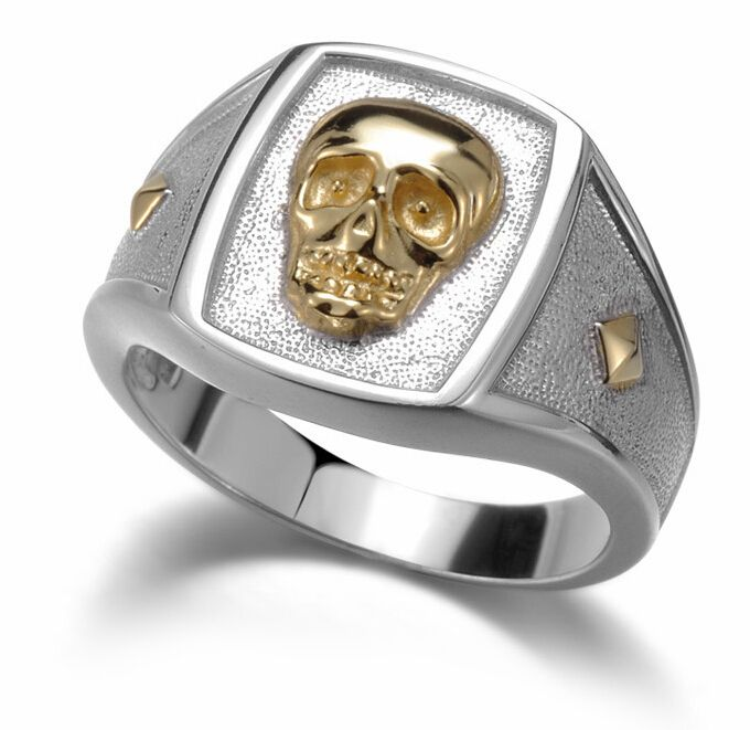 925 sterling silver jewelry Men's skull Rings men's two tone rings band jewelry