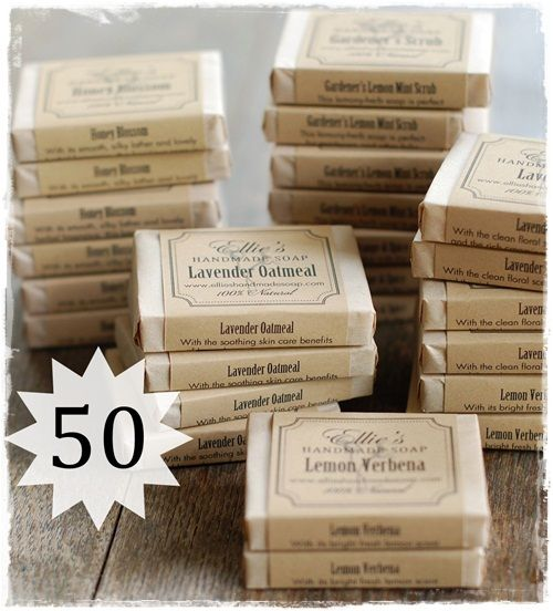 Set of 50 Soap Favors - Ellie's Handmade Soap - Natural herbal soaps to nourish your skin and delight your senses.