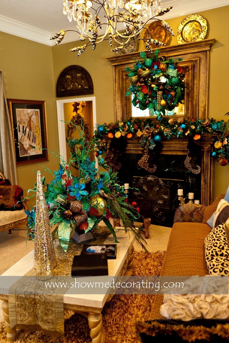 Living Room Show Me Decorating 1000 images about christmas trees majestic peacock theme on pinterest coordinating wreath garland and centerpiece in turquoise animal print www showmedecorating