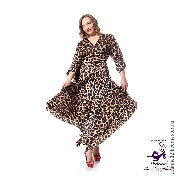 """Купить Роскошный пеньюар """"Пантера"""" сразу на 3 размера леопардовый - бежевый, звериная расцветка, кимоно"""