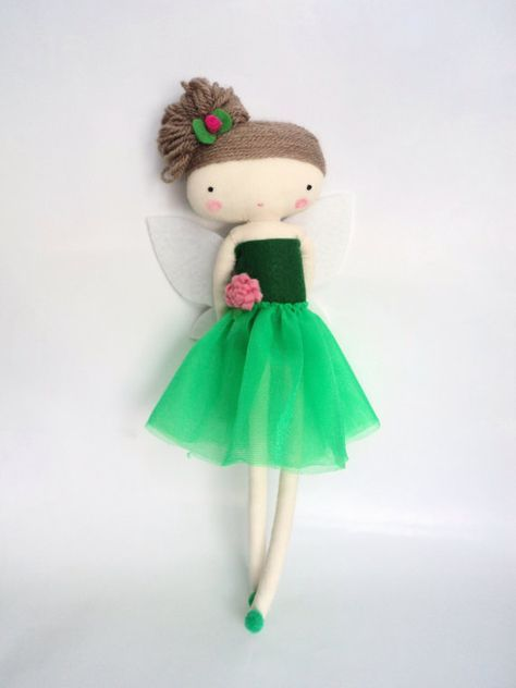 tinker bell  rag doll - art doll  fairy tale cloth doll green tulle made to order