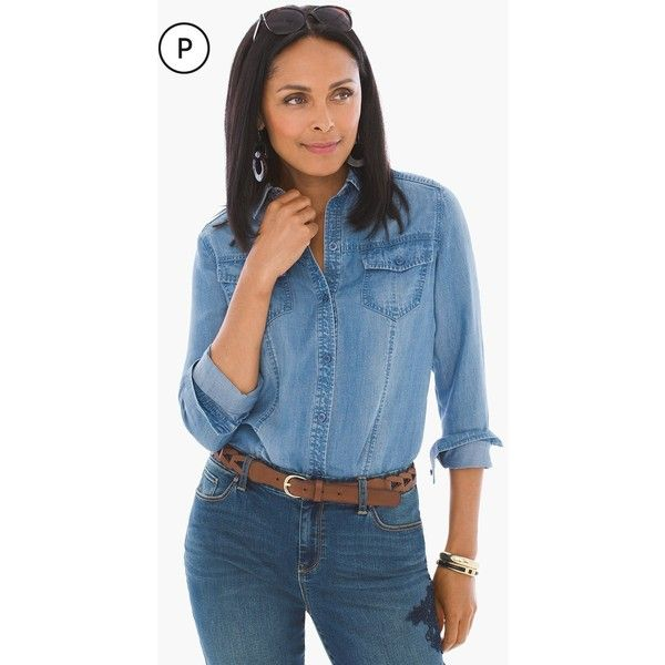 Chico's Petite Button-up Denim Shirt ($89) ❤ liked on Polyvore featuring tops, baltic wash, petite, long sleeve button up shirts, blue button up shirt, long sleeve tops, blue button down shirt and blue denim shirt
