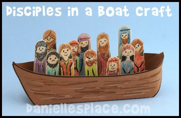 Disciples in a Boat Craft www.daniellesplace.com, lots of cute bible crafts