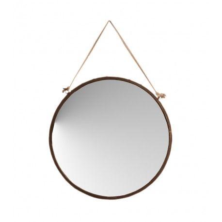 Espejo pared redondo metal óxido cuerda