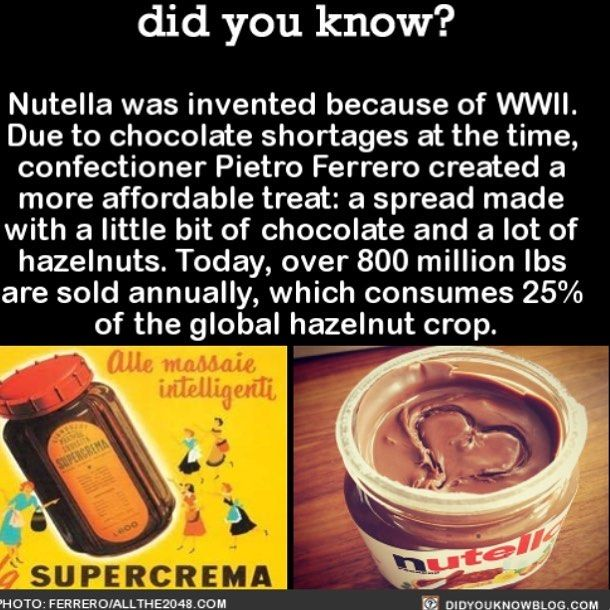 Nutella is life!  #nutella #food #yum #chocolate   Share the helpful knowledge! Tag your friends in the comments.  We wrote a book with over 50 original fact illustrations!  Buy it on Amazon today!  http://amzn.to/2gzSCrU  We post different content on all our different social media channels. Follow all our accounts so you don't miss out! http://ift.tt/1FVnDRT http://ift.tt/14BKkrR http://twitter.com/didyouknowfacts http://fact-snacks.com  #DYN #FACTS #TRIVIA #TIL #DIDYOUKNOW #NOWIKNOW