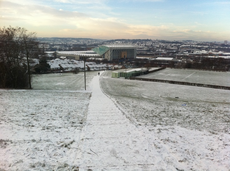 View of Elland Road from Beeston Hill in the snow