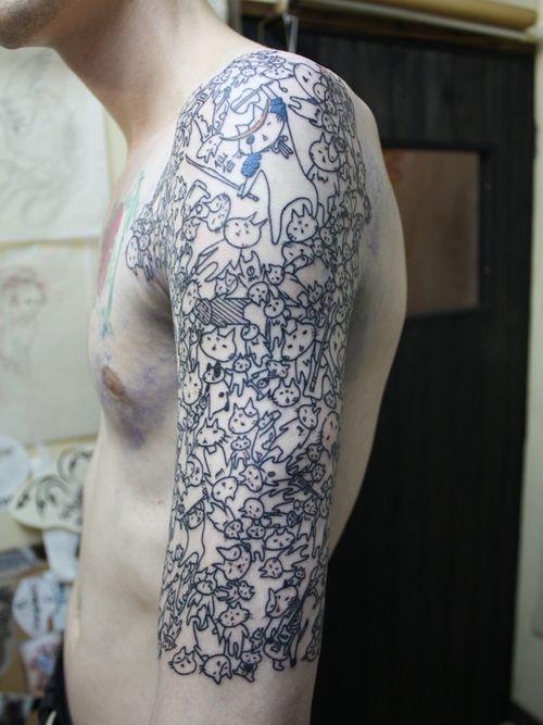 Lots of cats!: Tattoo Sleeve, Kitty Cat, Cat Tattoo Design, Sleeve Tattoo, Crazycat, This Men, Half Sleeve, Cat Sleeve, Crazy Cat Lady