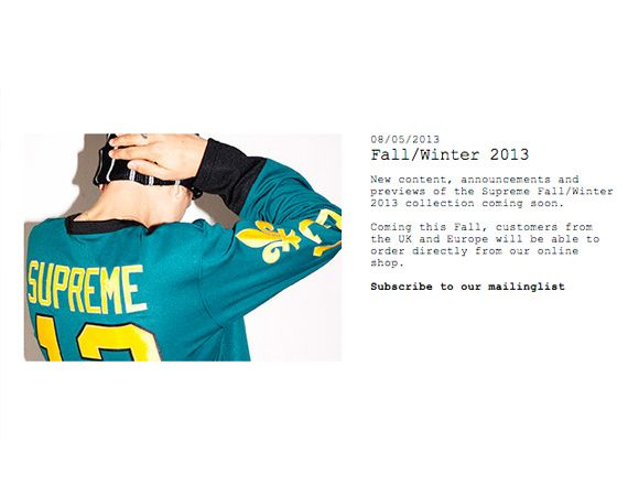 Supreme - Online Shopping for UK and Europe Beginning Fall 2013