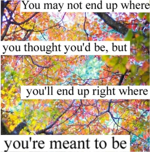 You'll end up where you're meant to be