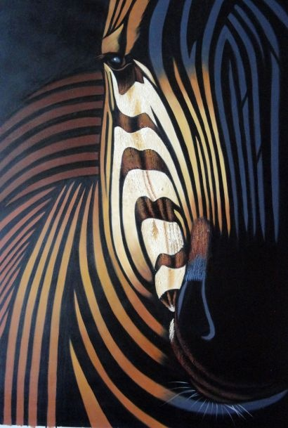 Colorful Modern Zebra I  36x24 Oil Painting  from BeyondDream