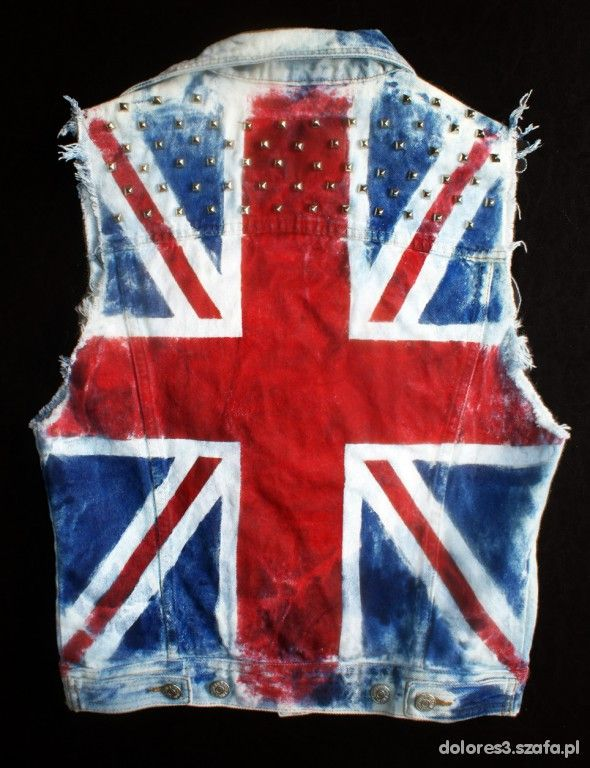 kamizelka jeansowa flaga Anglii ćwieki DIY punk