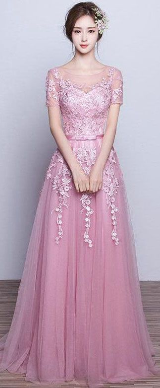US$136.21-Beautiful Tulle Appliqued Pink Long Prom Dress with Sleeves. https://www.junebridals.com/appliques-tulle-stuning-new-arrival-p331280.html.  Free Shipping! NewAdoringDress.com selected the best prom dresses, party dresses, cocktail dresses, formal dresses, maxi dresses, evening dresses and dresses for teens such as sweet 16, graduation and homecoming. #prom #dress