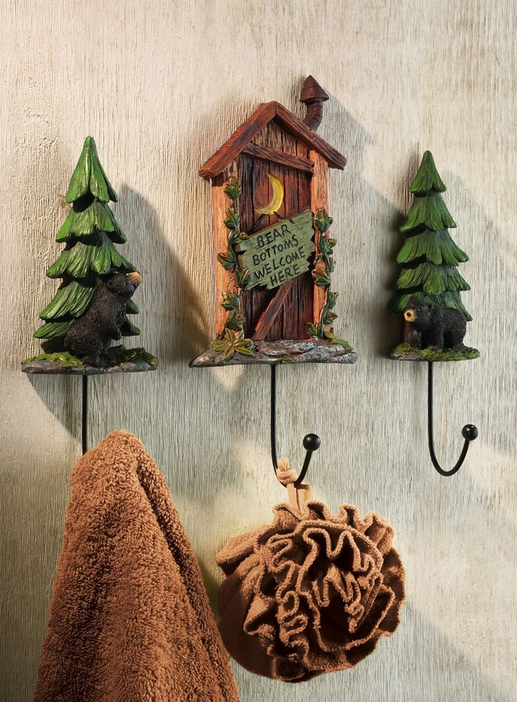 Outhouse Bathroom Set | Set Of 3 Outhouse Cabin W/ Bears Bathroom Wall Hooks