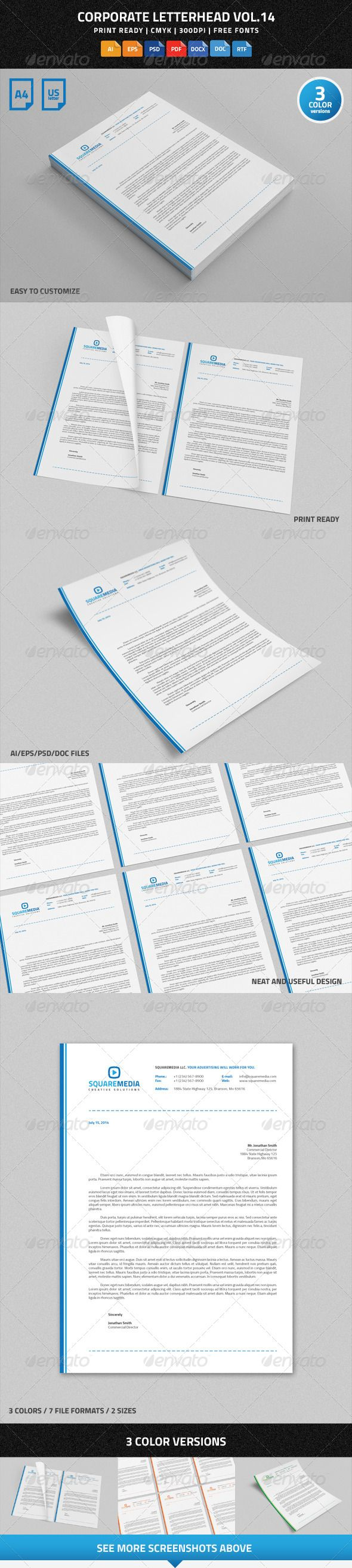 Corporate Letterhead Vol.14 With MS Word DOC/DOCX  Corporate Word Templates