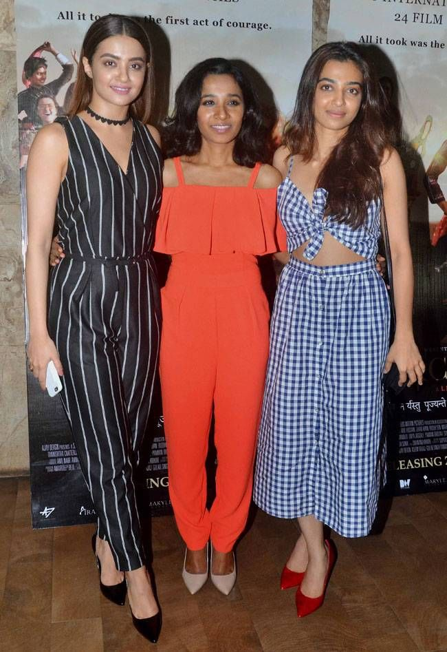 Surveen Chawla, Tannishtha Chatterjee and Radhika Apte at #Parched screening. #Bollywood #Fashion #Style #Beauty #Hot #Sexy