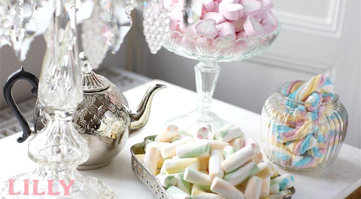 Skumfiduser i pastelfarver til velkomstbord eller slikbuffet