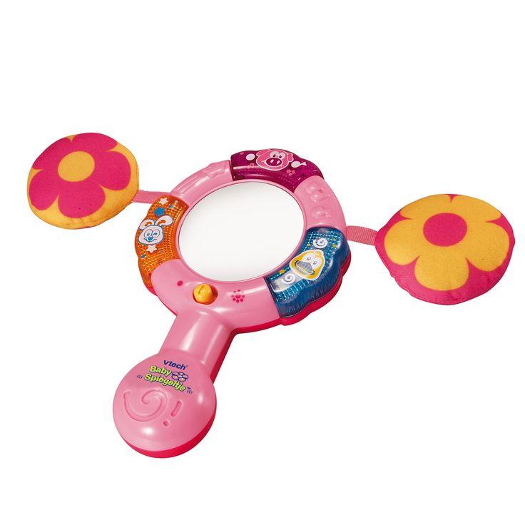 Afmeting:verpakking 20,5 x 19,5 x 7,5 cm Leert o.a. dieren, geluiden en muziek. Bewegingssensor activeert vrolijke zinnetjes. Met interactieve dierentoetsen voor dierenweetjes. Met melodietjes en een gezongen liedje. Automatische uitschakeling.  - VTech Baby Spiegeltje roze