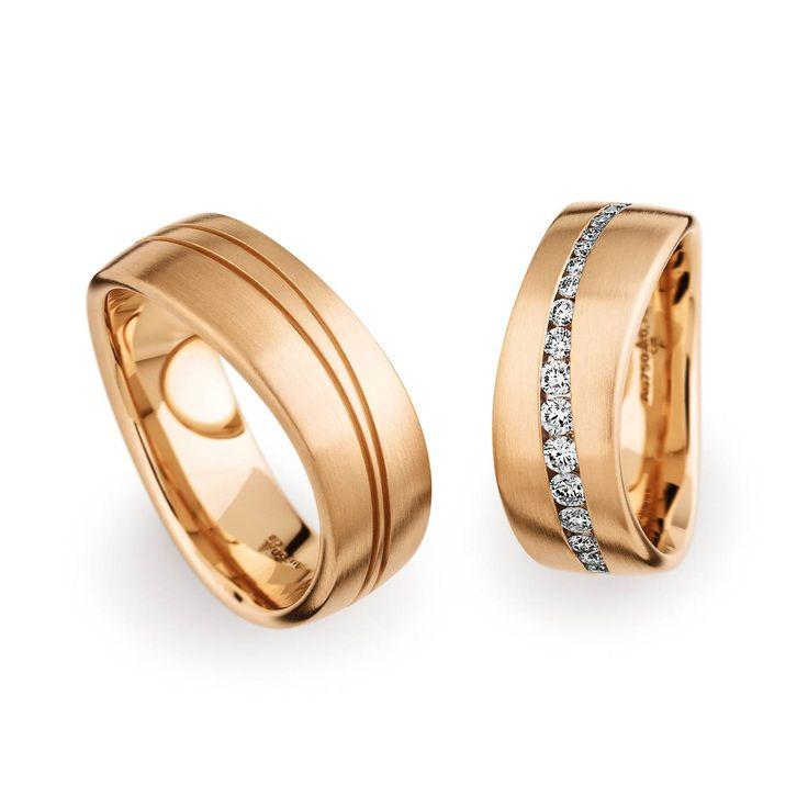 Atemberaubend extravagant präsentiert sich dieses Ringpaar in Roségold & 38 Diamanten  Damenring: 750 Roségold   Breite 7,5 mm   38 Diamanten   Brillant 0,75 ct  Herrenring: 750 Roségold   Breite 7,5 mm