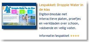 Lespakket: Droppie Water in de klas: digibordmodule met interactieve platen, proefjes en werkbladen over schoon, voldoende en veilig water.