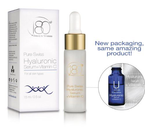 180 Cosmetics Pure Swiss, Hyaluronic Acid Serum + Vitamin C (Ultima) - The very best hyaluronic acid skincare line in the world - For smooth, plump, younger looking skin - Anti Aging, Anti Wrinkle, Instant Lift Solution - Formulated to smooth, strengthen, tone, plump, rejuvenate, and hydrate the skin. Contains the highest concentration of the absolute best quality Swiss hyaluronic acid available on the market, and enriched with natural ingredients and vitamin C for maximum results.
