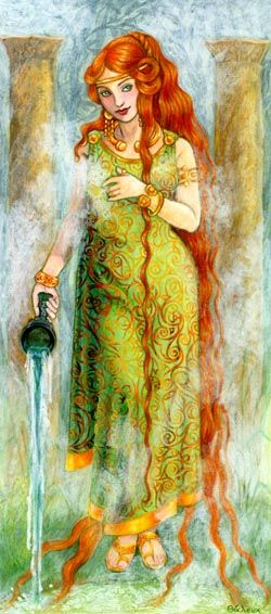 "The Goddess of the hot springs at Bath, England (the only hot springs in Britain), Sulis's name come from a root meaning ""eye"" or ""gap"", referring both to the spring from where half a million gallons of hot water still well up every day, as well as to Her powers as seeress. art by Thalia Took"
