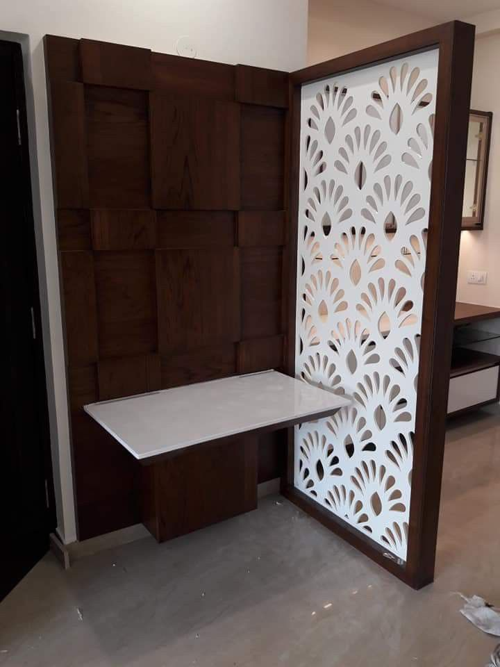 Beautiful Brown And White Mdf Jali Nice Combination Mandir