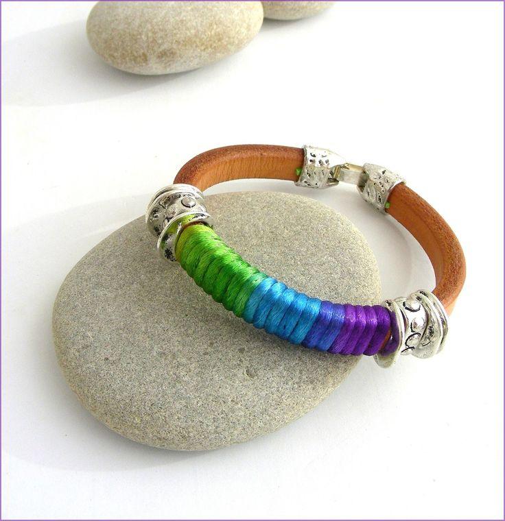 Bracelet Cuir épais Beige-Camel / Cordon rainbow et métal- sur mesure : Bracelet par ladyplazza