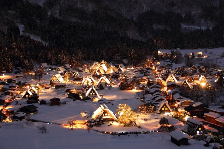 Shirakawa-gō / Gifu In 1995, Shirakawa-go was registered as a UNESCO World Heritage site. The area is lit up at night every weekend in July, every year.