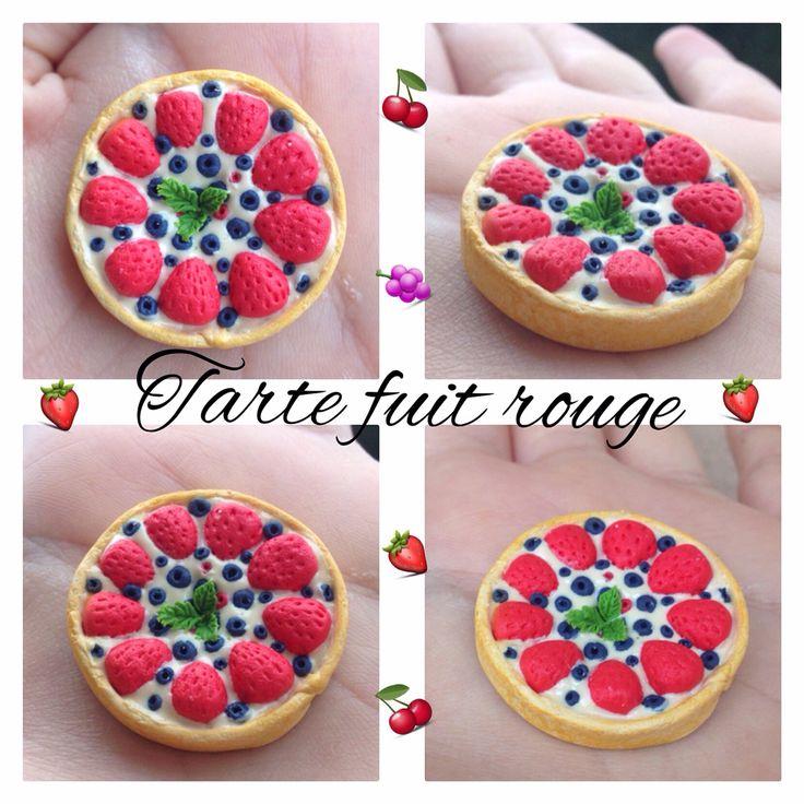 DIY Fimo clay Petite tarte aux. Fruits rouge en Fimo ❤️