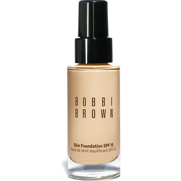 BOBBI BROWN Skin foundation SPF 15 (185 BRL) ❤ liked on Polyvore featuring beauty products, makeup, face makeup, foundation, beauty, cosmetics, faces, filler, long wearing foundation and spf foundation