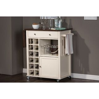 Shop for Baxton Studio Justin Modern Contemporary Cream White Solid Wood Kitchen Cart with Dark Oak Drop Leaf Top and Built-in Wine Rack. Get free shipping at Overstock.com - Your Online Kitchen