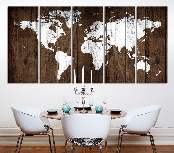 Carte du monde Art mural rustique carte Art par ExtraLargeWallArt