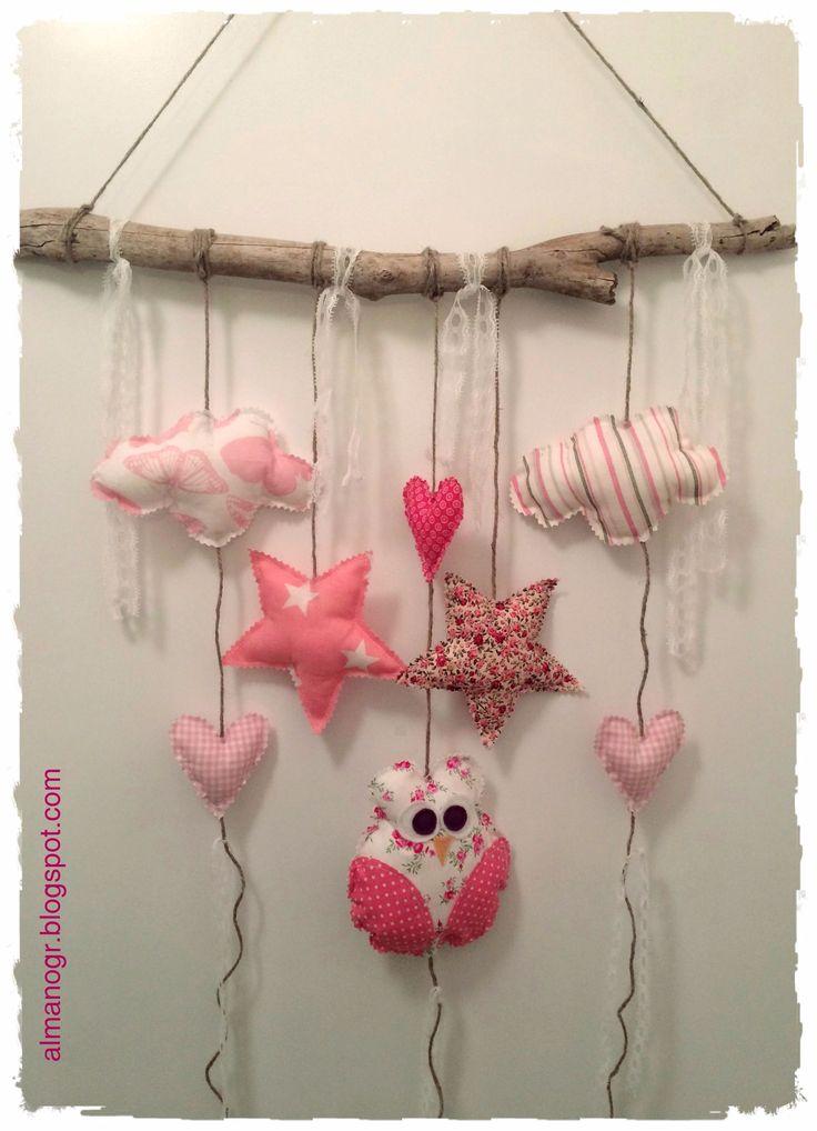 Owl, clouds, stars, hearts, handmade mobile for a kids room or playroom or nursery #fabricowls #handmademobile #handmadegarland #kidstuff #kidsroomdeco #kidsmobile #nurserydeco #almanogr