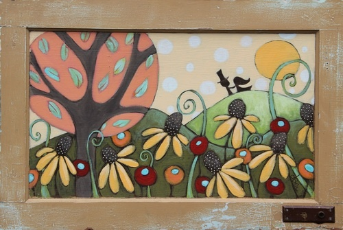 Deona Fish paints most of her work on wood, using old doors and stuff. I love this one
