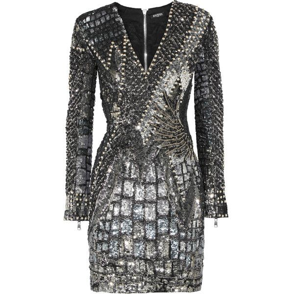 Balmain Embellished tulle and satin dress (£3,840) ❤ liked on Polyvore featuring dresses, form fitting dresses, embellished cocktail dresses, balmain dress, silver satin dress and mini dress