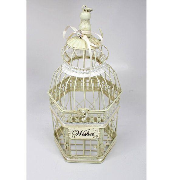 Centerpiece, Wishing Well. Wedding Birdcage Centerpiece, Bird Cage Wishing Well. Vintage Ivory, Silver & Pearl. Wedding Advice Box. Wishes.