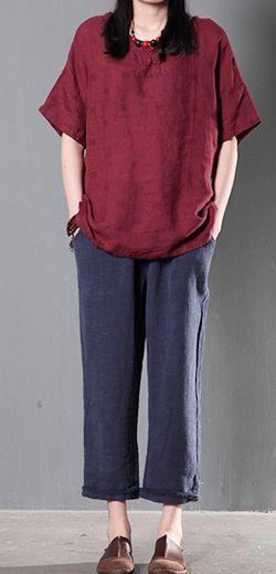 Burgundy women linen shirt cusual summer loose blouse short top