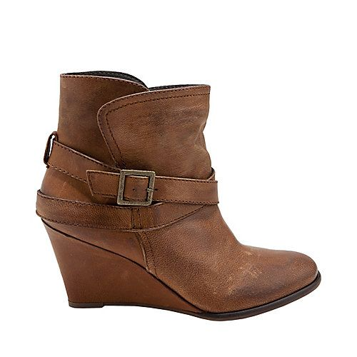 ELLIZA COGNAC LEATHER women's bootie high wedge - Steve Madden