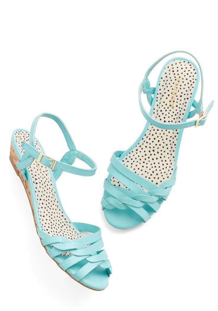 Better Plait than Never Sandal in Aqua. When it comes to warm weather kicks, youd rather wear these turquoise sandals than any other pair! #blue #modcloth