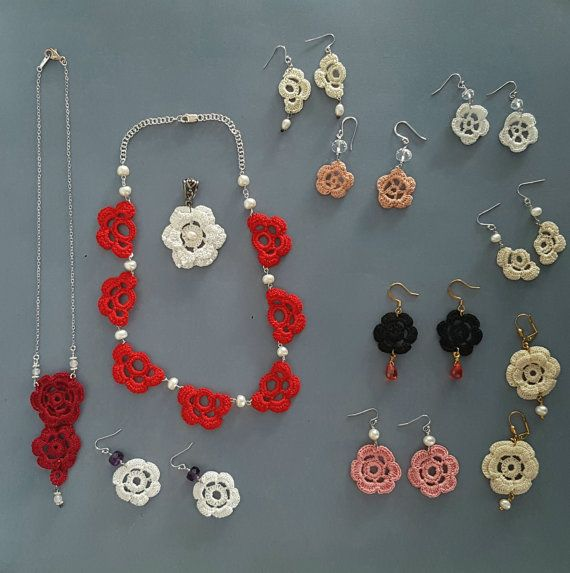 Large batch crochet jewelry by anordicrose on Etsy