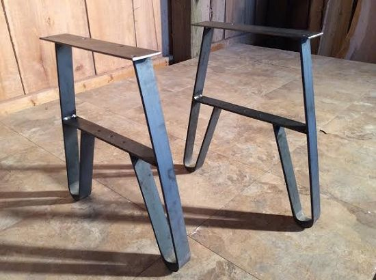 14.75 INCH HIGH METAL TABLE LEG SET! Flat Iron Bench Or Coffee Table Legs! Unfinished! 14.75 Inch Tall X 10 Inch Long Top Plate! N-139