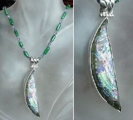 Green Emerald Tubes Necklace c/w Silver Purple Green by camexinc
