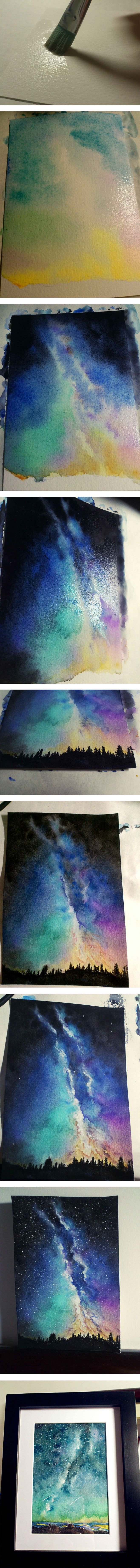 Watercolor sky Tutorial could also be used with tree rubber stamps instead of painting the landscape.
