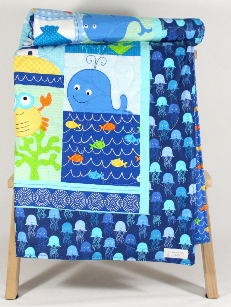 Sea Life Handmade Baby Quilt Modern Baby Blanket With