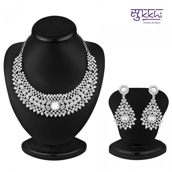 Sublime Rhodium Plated AD Stone Necklace Set | High5Store.com
