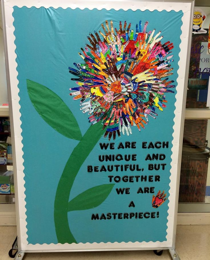 A beautiful collaborate art project perfect for the beginning of the year- a beautiful flower made from everyone's handprints!